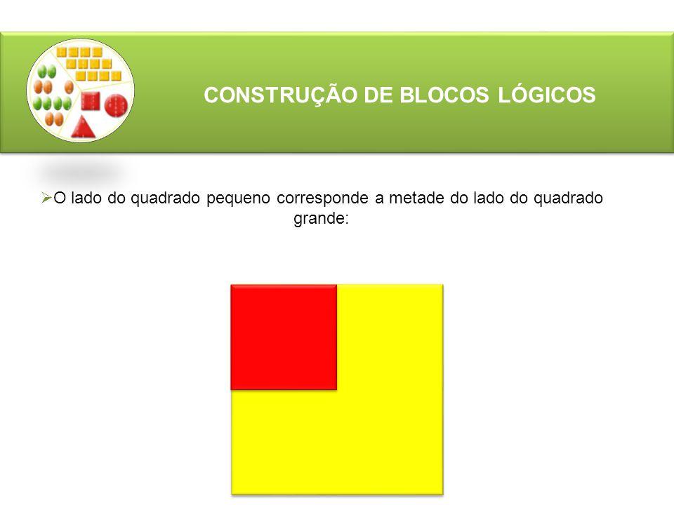 CONSTRUÇÃO DE BLOCOS LÓGICOS  O lado do quadrado pequeno corresponde a metade do lado do quadrado grande: