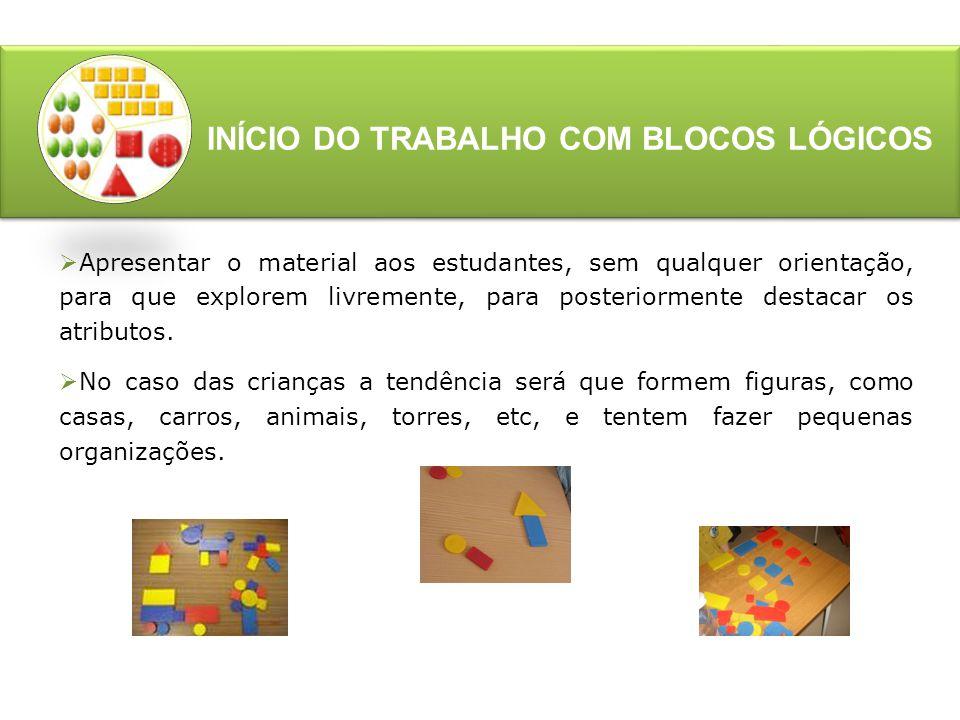 INÍCIO DO TRABALHO COM BLOCOS LÓGICOS  Dienes e Golding (1976) classificam os blocos lógicos como conceituais , pois permitem ao professor trabalhar, juntamente com as crianças cores, formas, tamanhos e espessuras explorando os atributos das peças.