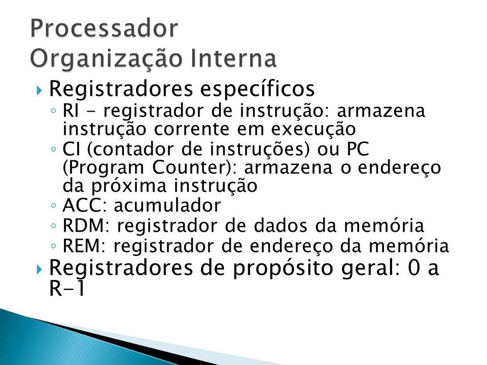  Registradores específicos ◦ RI - registrador de instrução: armazena instrução corrente em execução ◦ CI (contador de instruções) ou PC (Program Coun