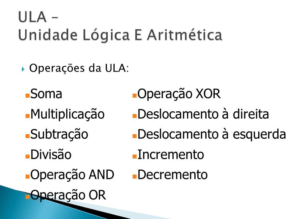  Operações da ULA: Soma Multiplicação Subtração Divisão Operação AND Operação OR Operação XOR Deslocamento à direita Deslocamento à esquerda Incremen