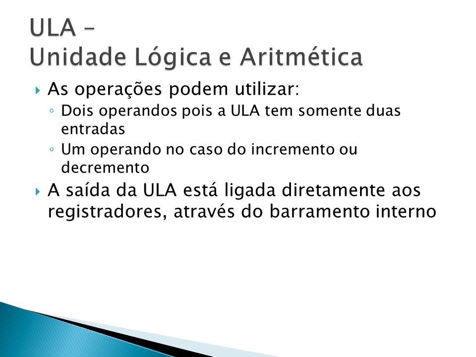  As operações podem utilizar: ◦ Dois operandos pois a ULA tem somente duas entradas ◦ Um operando no caso do incremento ou decremento  A saída da UL