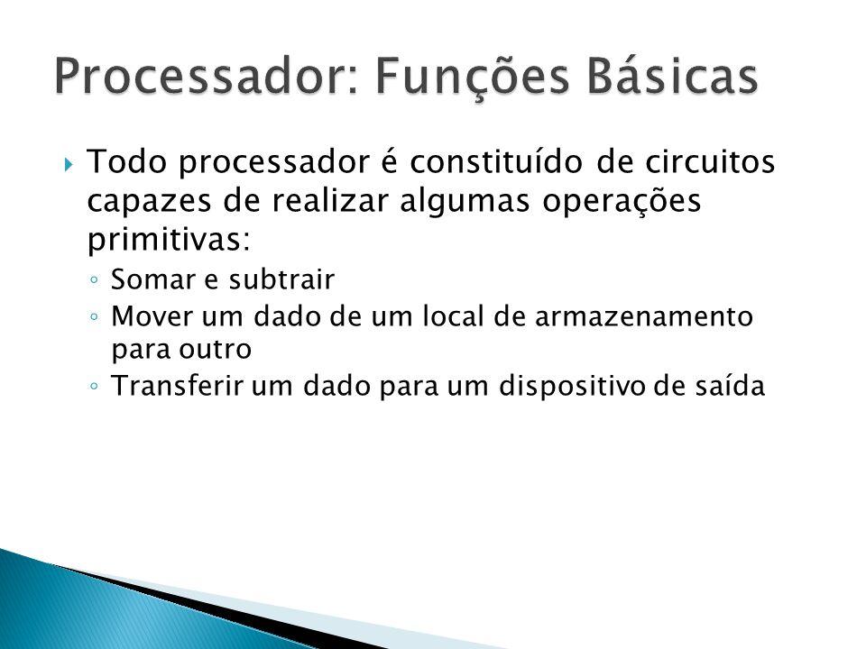  Todo processador é constituído de circuitos capazes de realizar algumas operações primitivas: ◦ Somar e subtrair ◦ Mover um dado de um local de arma
