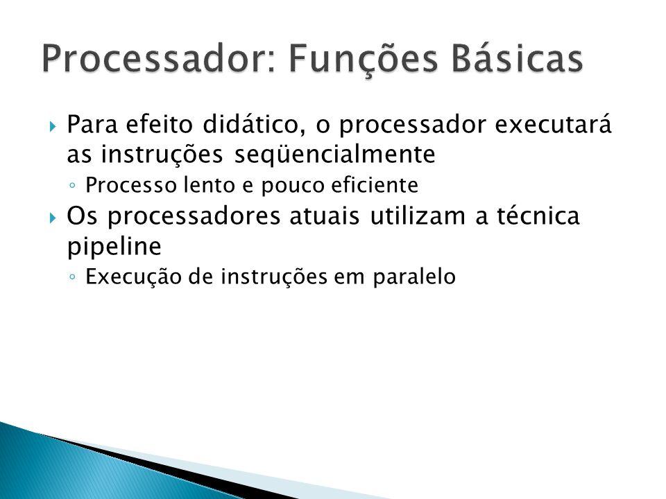  Para efeito didático, o processador executará as instruções seqüencialmente ◦ Processo lento e pouco eficiente  Os processadores atuais utilizam a