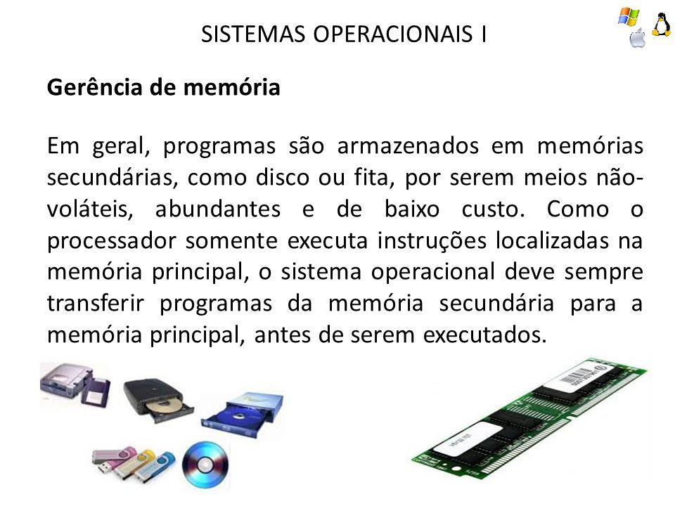 SISTEMAS OPERACIONAIS I Gerência de memória Em geral, programas são armazenados em memórias secundárias, como disco ou fita, por serem meios não- volá