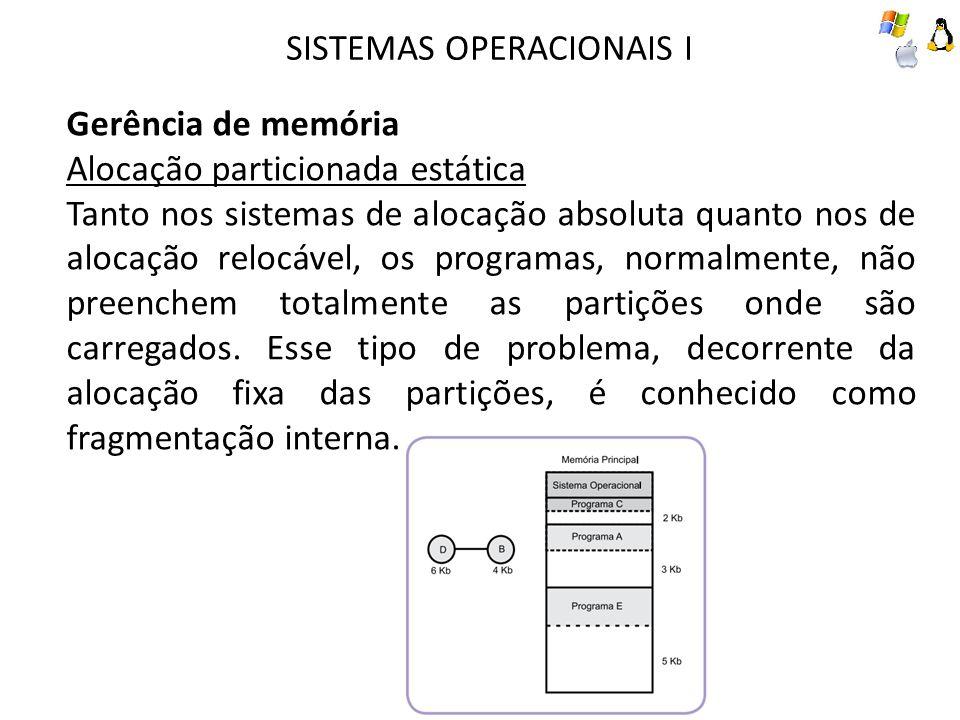 SISTEMAS OPERACIONAIS I Gerência de memória Alocação particionada estática Tanto nos sistemas de alocação absoluta quanto nos de alocação relocável, o