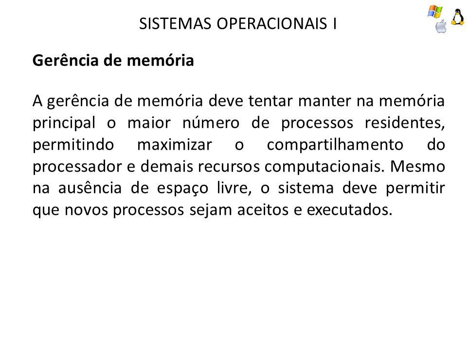 SISTEMAS OPERACIONAIS I Gerência de memória A gerência de memória deve tentar manter na memória principal o maior número de processos residentes, perm