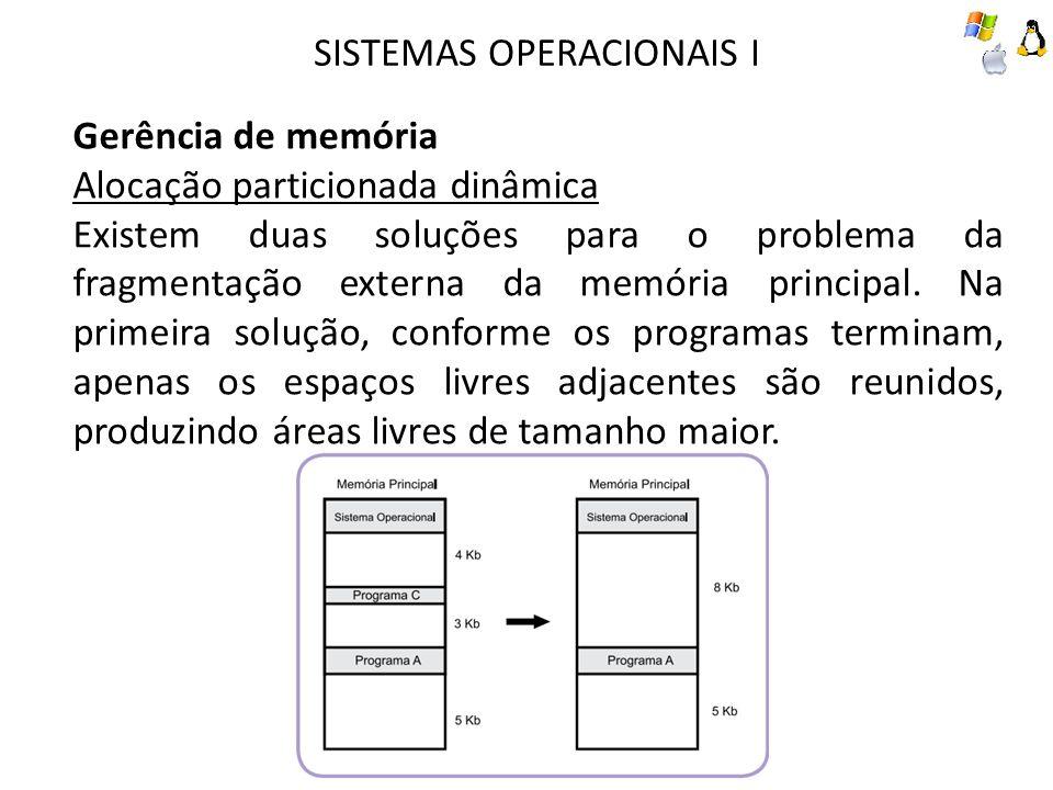 SISTEMAS OPERACIONAIS I Gerência de memória Alocação particionada dinâmica Existem duas soluções para o problema da fragmentação externa da memória pr