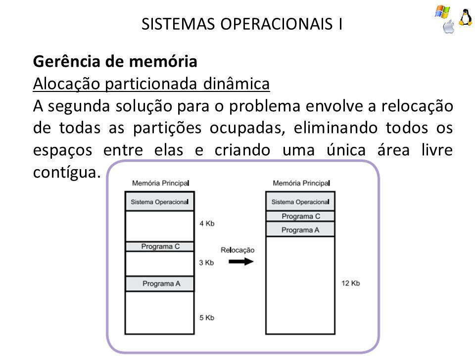 SISTEMAS OPERACIONAIS I Gerência de memória Alocação particionada dinâmica A segunda solução para o problema envolve a relocação de todas as partições