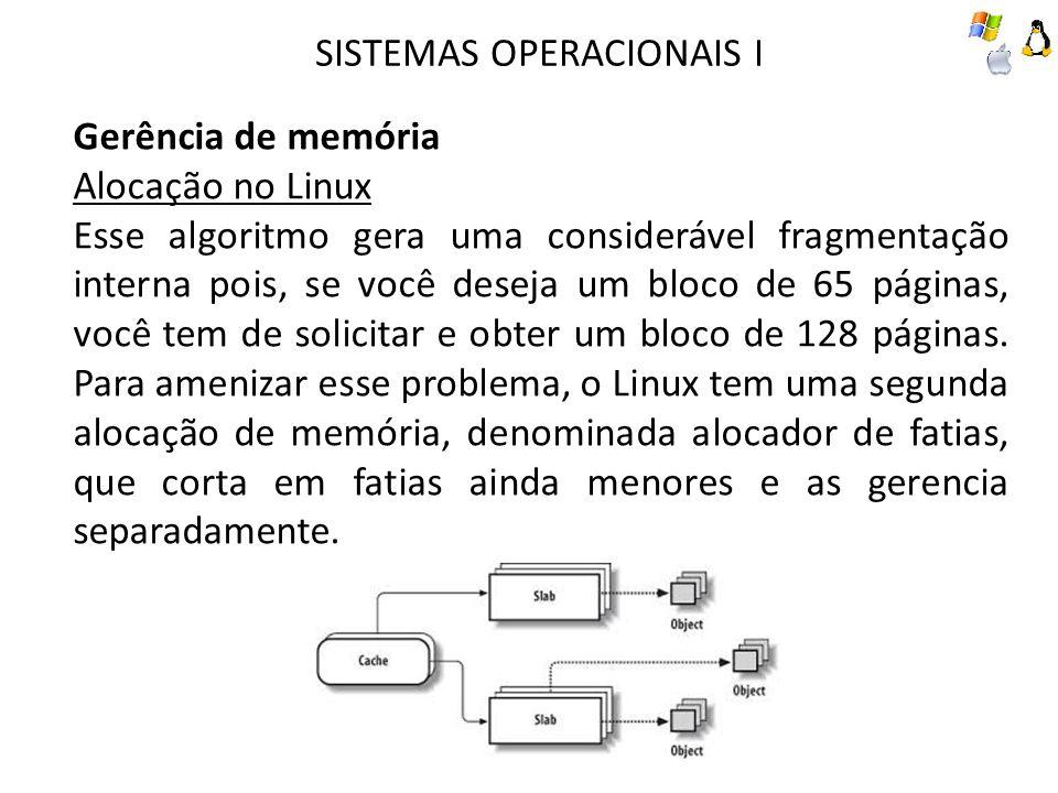 SISTEMAS OPERACIONAIS I Gerência de memória Alocação no Linux Esse algoritmo gera uma considerável fragmentação interna pois, se você deseja um bloco