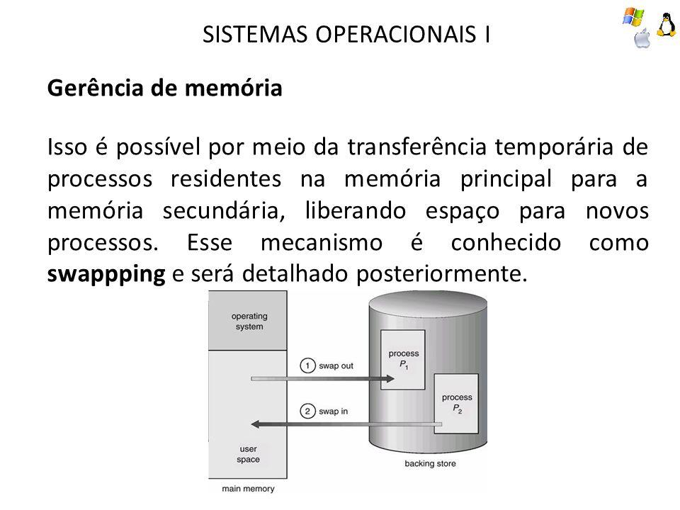 SISTEMAS OPERACIONAIS I Gerência de memória Isso é possível por meio da transferência temporária de processos residentes na memória principal para a m