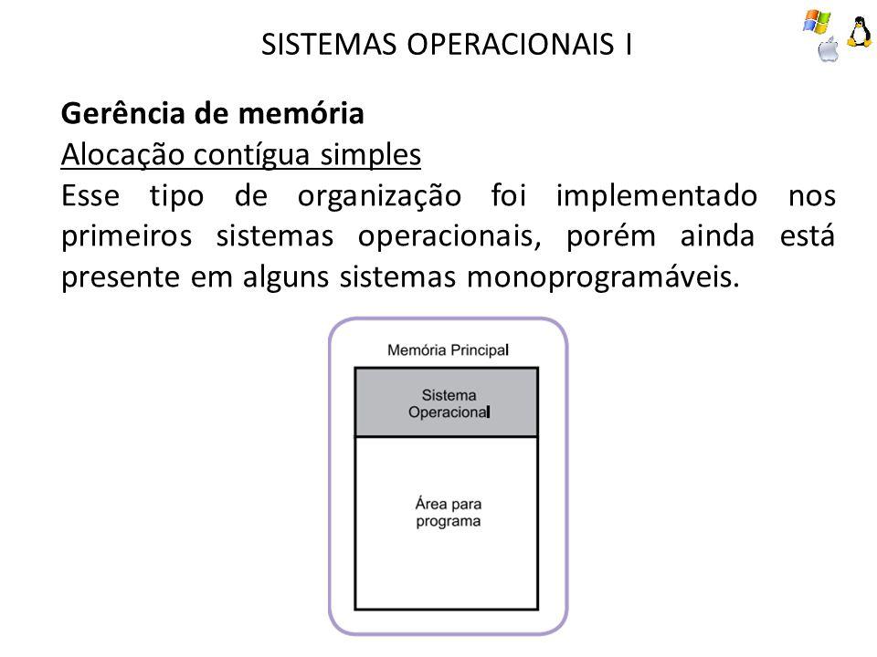 SISTEMAS OPERACIONAIS I Gerência de memória Alocação contígua simples Esse tipo de organização foi implementado nos primeiros sistemas operacionais, p