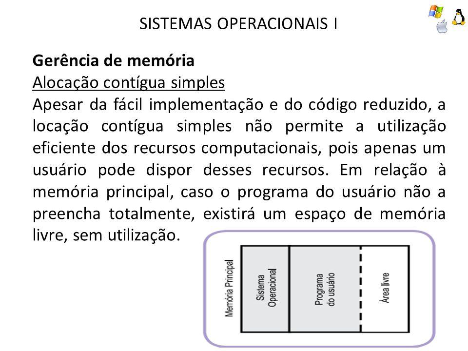 SISTEMAS OPERACIONAIS I Gerência de memória Alocação contígua simples Apesar da fácil implementação e do código reduzido, a locação contígua simples n
