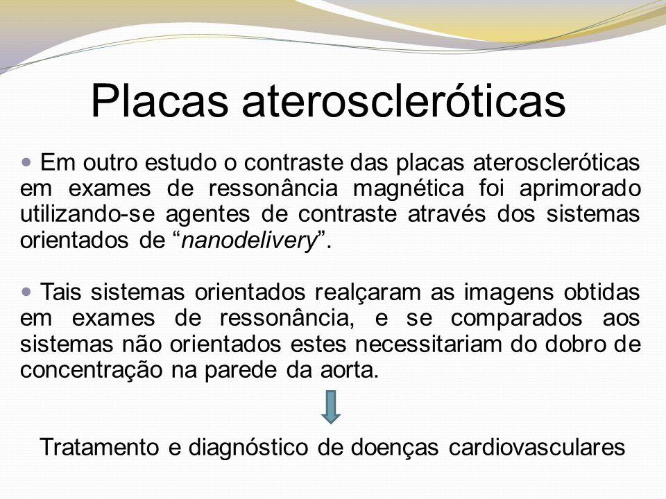 Em outro estudo o contraste das placas ateroscleróticas em exames de ressonância magnética foi aprimorado utilizando-se agentes de contraste através d
