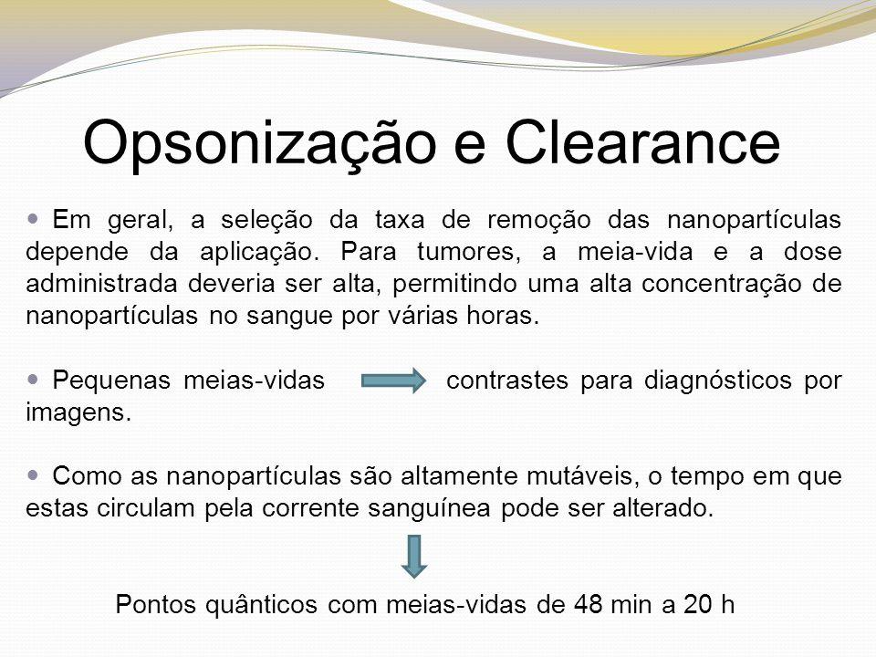 Opsonização e Clearance Em geral, a seleção da taxa de remoção das nanopartículas depende da aplicação. Para tumores, a meia-vida e a dose administrad