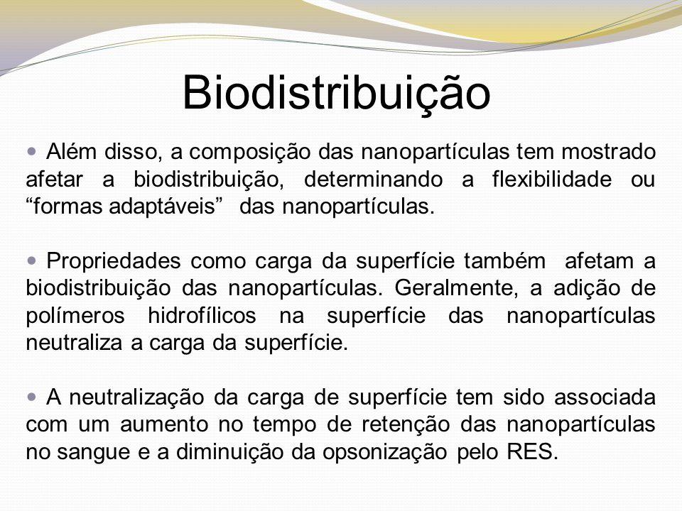 """Biodistribuição Além disso, a composição das nanopartículas tem mostrado afetar a biodistribuição, determinando a flexibilidade ou """"formas adaptáveis"""""""