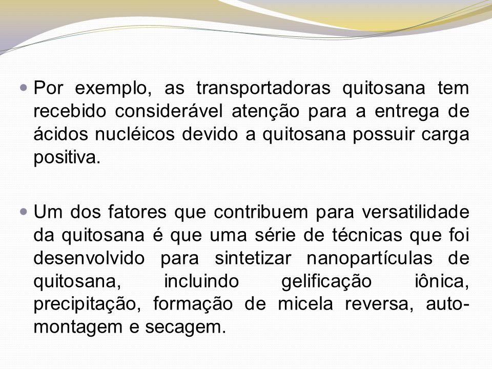 Por exemplo, as transportadoras quitosana tem recebido considerável atenção para a entrega de ácidos nucléicos devido a quitosana possuir carga positi