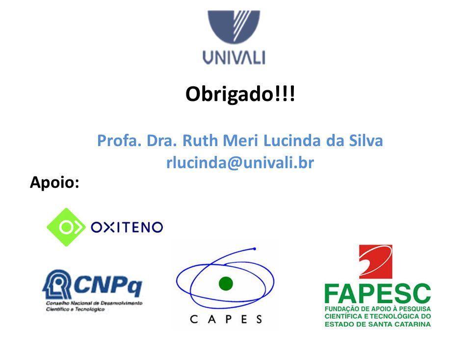 Apoio: Obrigado!!! Profa. Dra. Ruth Meri Lucinda da Silva rlucinda@univali.br