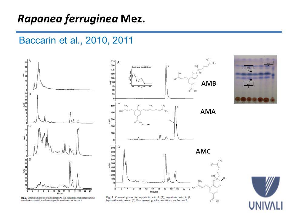 Ácido mirsinoico B 53,03 ± 0,03 µg/g de formulação Ácido mirsinoico A 54,10 ± 0,08 µg/g de formulação