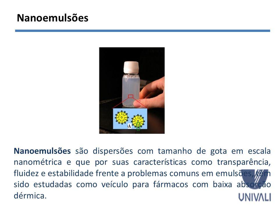 Vantagens -estabilidade física e físico-química; -Relativa baixa toxicidade; - Veículos para fármacos hidrofílicos e lipofílicos; - Aumento da taxa de absorção e biodisponibilidade; -Aumento da estabilidade de fármacos; -aumento da permeação cutânea; - características sensoriais mais agradáveis para aplicação em cosméticos; SOLANS et al., 2005; TADROS et al., 2004; THAKUR et al., 2012 Nanoemulsões