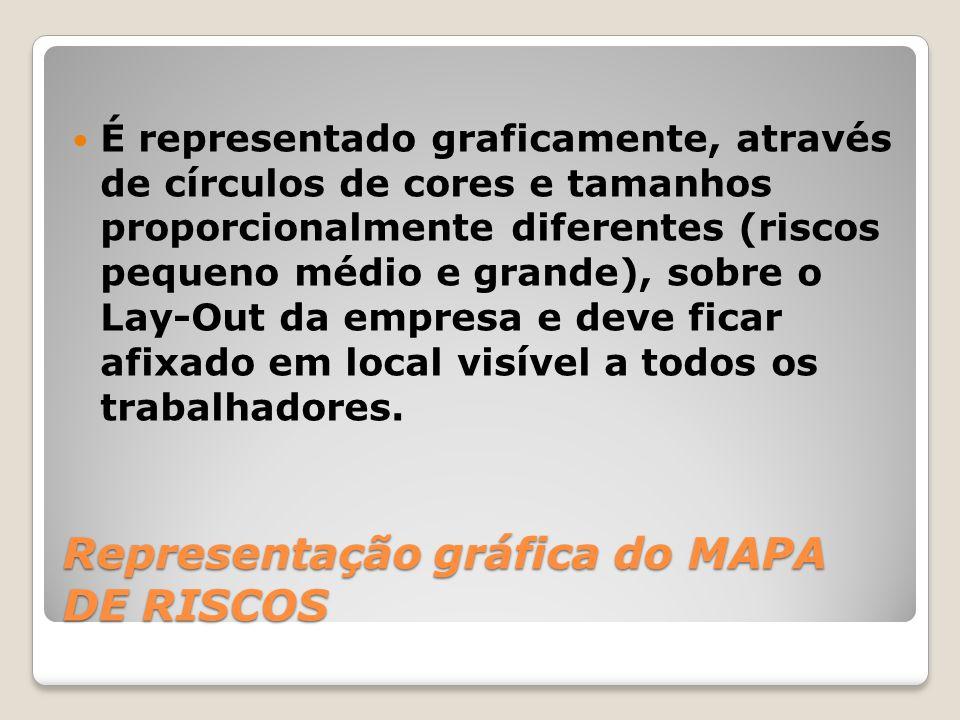 Representação gráfica do MAPA DE RISCOS É representado graficamente, através de círculos de cores e tamanhos proporcionalmente diferentes (riscos pequ