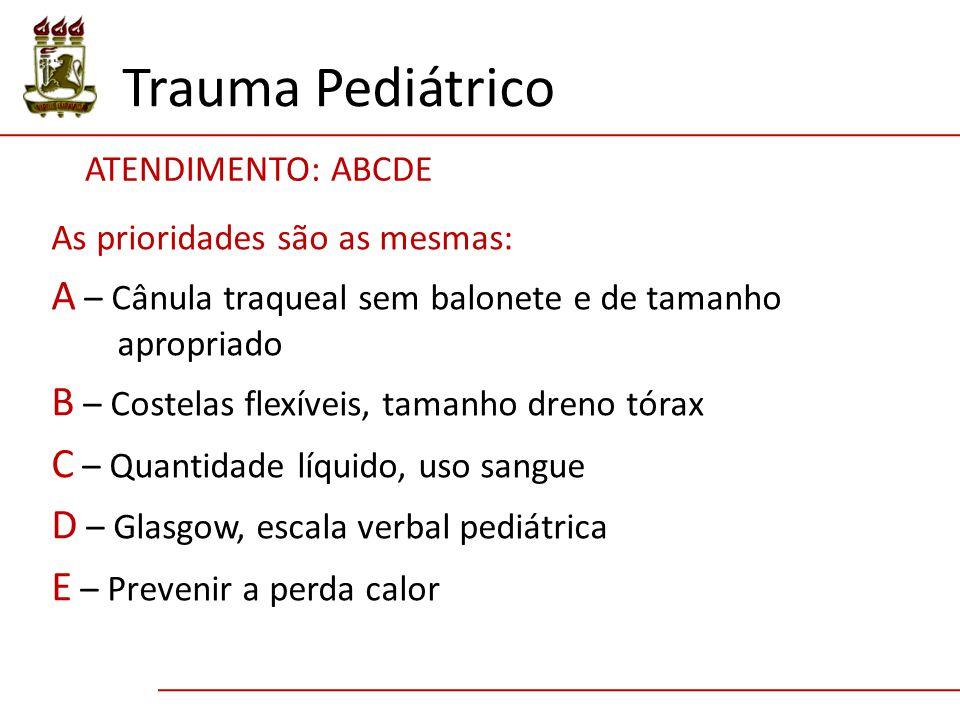 Trauma Pediátrico ATENDIMENTO: ABCDE As prioridades são as mesmas: A – Cânula traqueal sem balonete e de tamanho apropriado B – Costelas flexíveis, ta