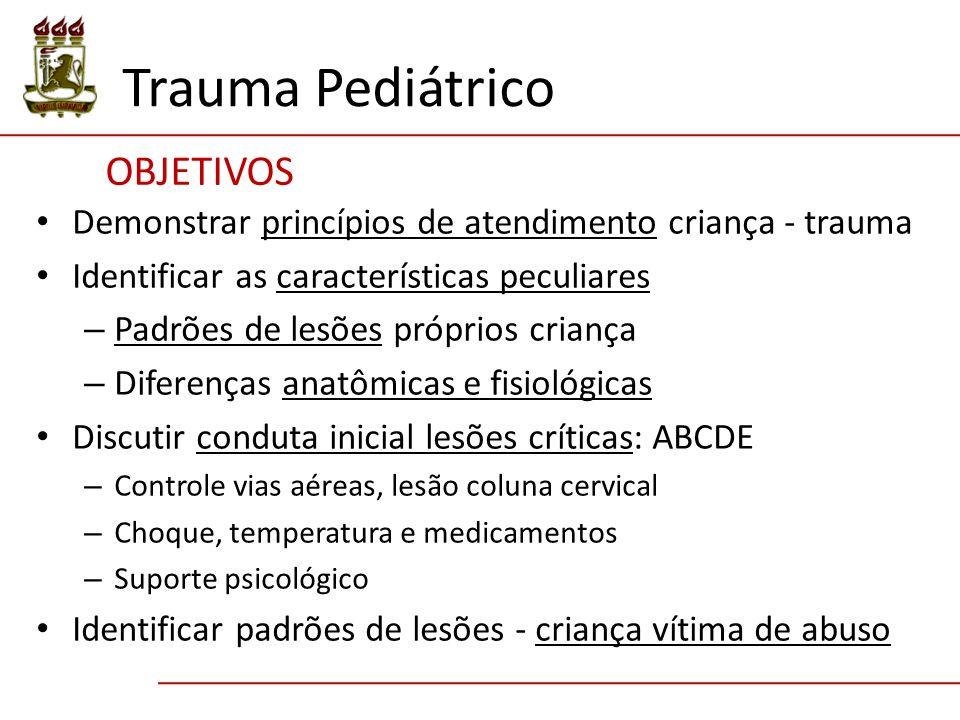 OBJETIVOS Trauma Pediátrico Demonstrar princípios de atendimento criança - trauma Identificar as características peculiares – Padrões de lesões própri