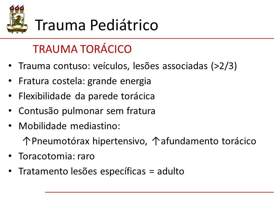 Trauma Pediátrico TRAUMA TORÁCICO Trauma contuso: veículos, lesões associadas (>2/3) Fratura costela: grande energia Flexibilidade da parede torácica
