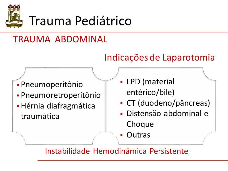 Trauma Pediátrico Indicações de Laparotomia  Pneumoperitônio  Pneumoretroperitônio  Hérnia diafragmática traumática  LPD (material entérico/bile)