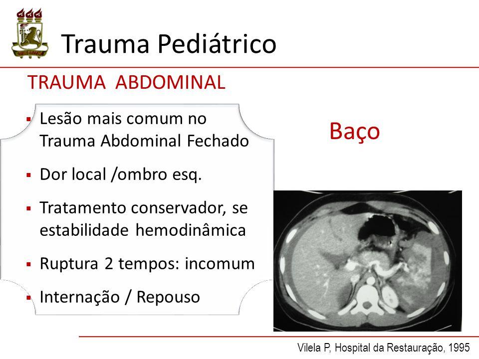 Trauma Pediátrico Baço  Lesão mais comum no Trauma Abdominal Fechado  Dor local /ombro esq.  Tratamento conservador, se estabilidade hemodinâmica 