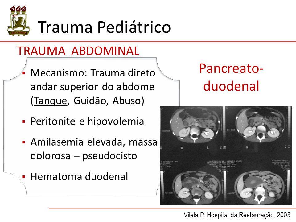 Trauma Pediátrico Pancreato- duodenal  Mecanismo: Trauma direto andar superior do abdome (Tanque, Guidão, Abuso)  Peritonite e hipovolemia  Amilase
