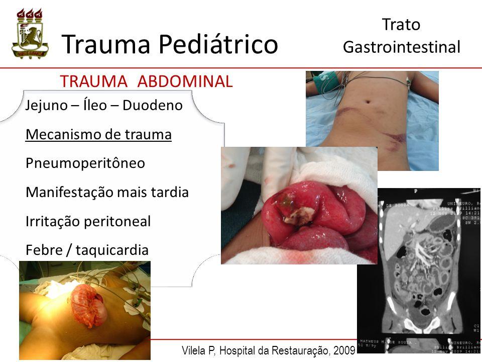 Trauma Pediátrico TRAUMA ABDOMINAL Trato Gastrointestinal Jejuno – Íleo – Duodeno Mecanismo de trauma Pneumoperitôneo Manifestação mais tardia Irritaç