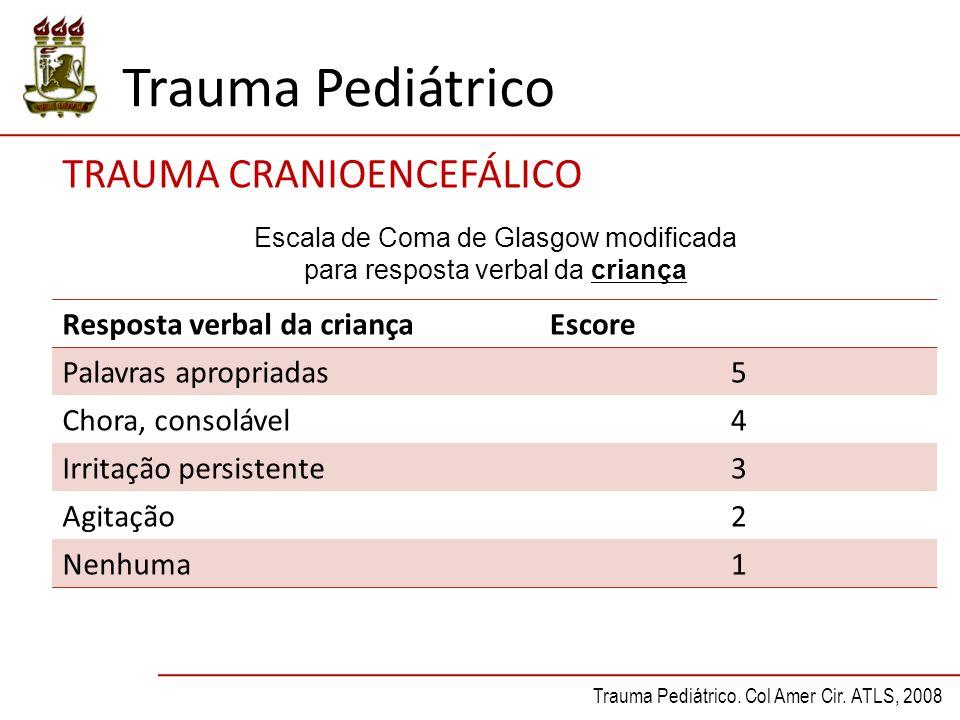 Trauma Pediátrico TRAUMA CRANIOENCEFÁLICO Resposta verbal da criançaEscore Palavras apropriadas5 Chora, consolável4 Irritação persistente3 Agitação2 N