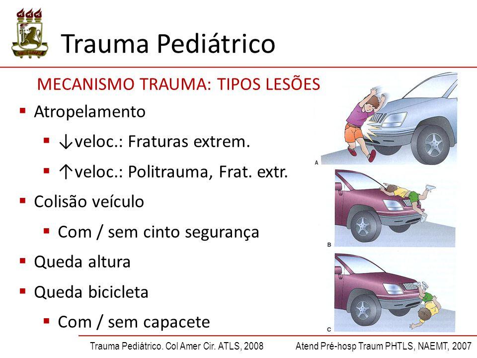 Trauma Pediátrico Trauma Pediátrico. Col Amer Cir. ATLS, 2008Atend Pré-hosp Traum PHTLS, NAEMT, 2007  Atropelamento  ↓veloc.: Fraturas extrem.  ↑ve