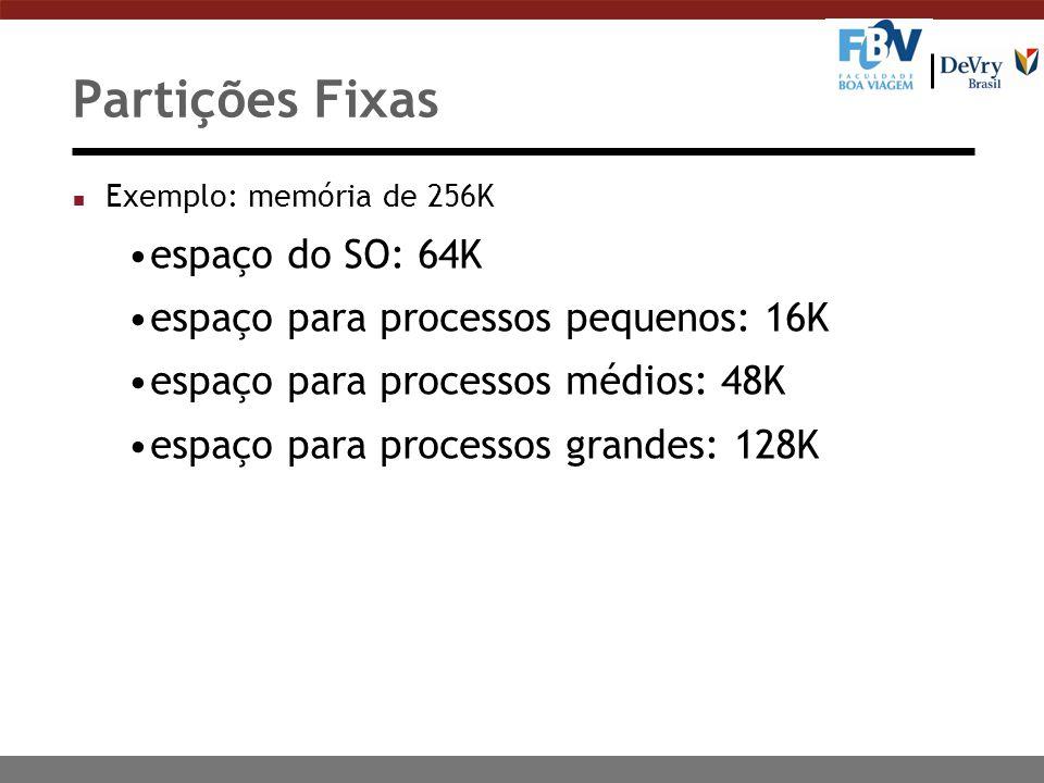Partições Fixas n Exemplo: memória de 256K espaço do SO: 64K espaço para processos pequenos: 16K espaço para processos médios: 48K espaço para processos grandes: 128K