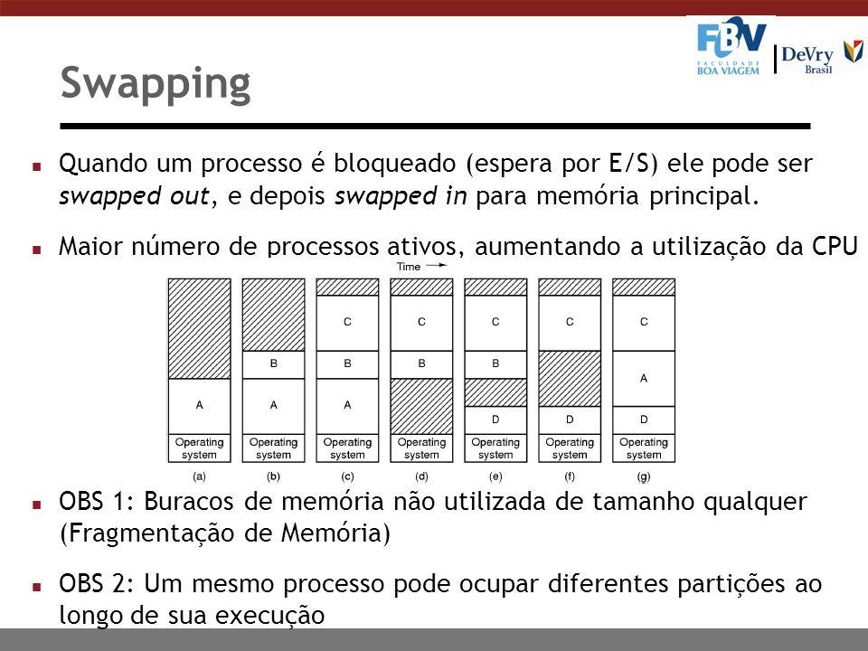 Swapping n Quando um processo é bloqueado (espera por E/S) ele pode ser swapped out, e depois swapped in para memória principal.