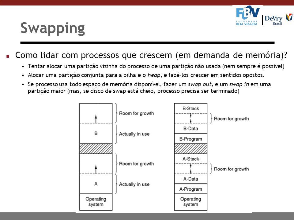 Swapping n Como lidar com processos que crescem (em demanda de memória).