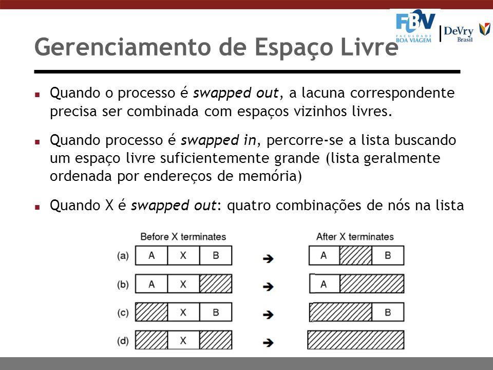 Gerenciamento de Espaço Livre n Quando o processo é swapped out, a lacuna correspondente precisa ser combinada com espaços vizinhos livres.