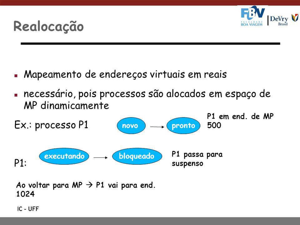 IC - UFF Realocação n Mapeamento de endereços virtuais em reais n necessário, pois processos são alocados em espaço de MP dinamicamente Ex.: processo P1 P1: novoprontobloqueadoexecutando P1 em end.