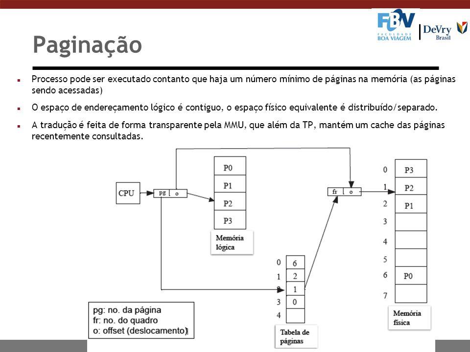 n Processo pode ser executado contanto que haja um número mínimo de páginas na memória (as páginas sendo acessadas) n O espaço de endereçamento lógico é contiguo, o espaço físico equivalente é distribuído/separado.