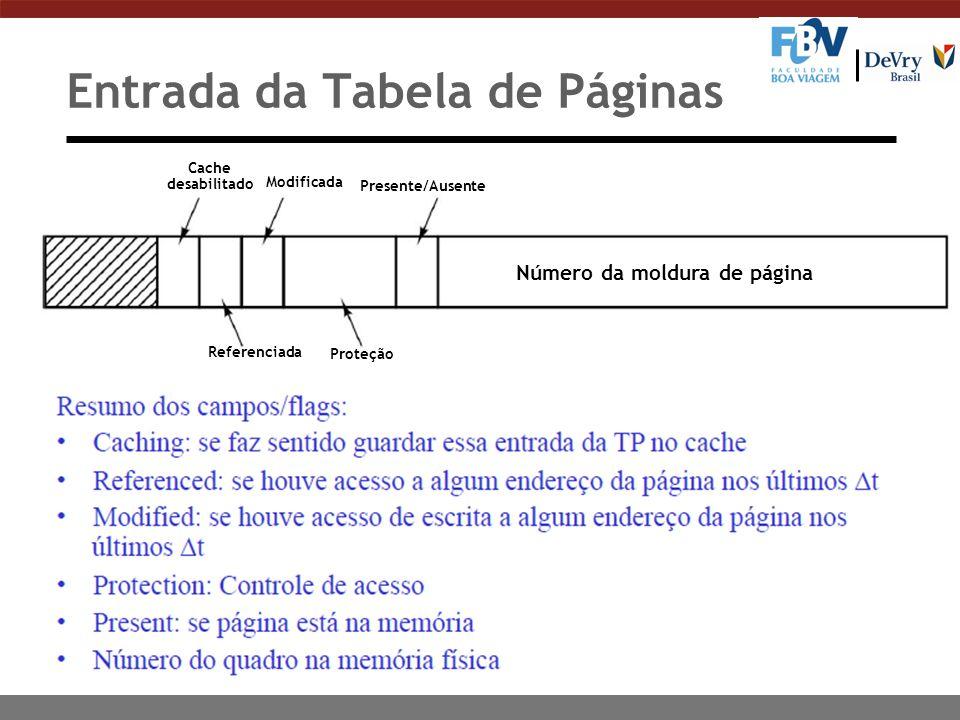 Entrada da Tabela de Páginas Cache desabilitado Modificada Presente/Ausente Referenciada Proteção Número da moldura de página