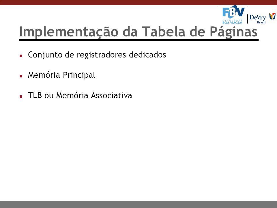 Implementação da Tabela de Páginas n Conjunto de registradores dedicados n Memória Principal n TLB ou Memória Associativa