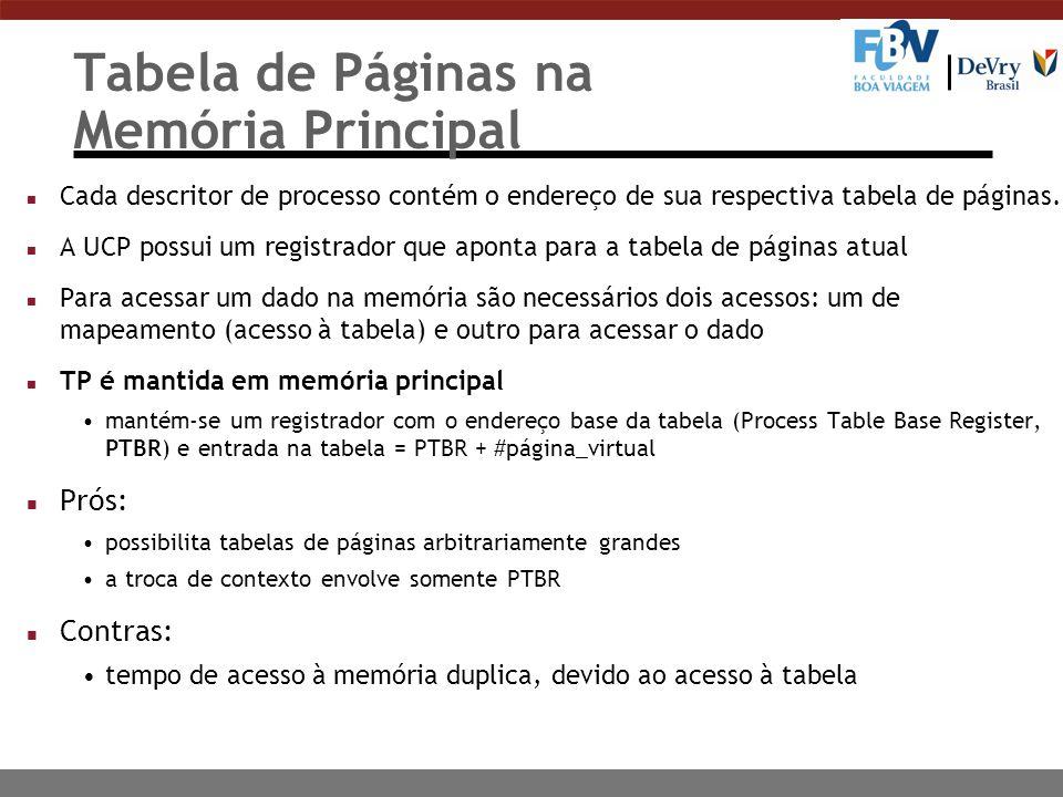 Tabela de Páginas na Memória Principal n Cada descritor de processo contém o endereço de sua respectiva tabela de páginas.