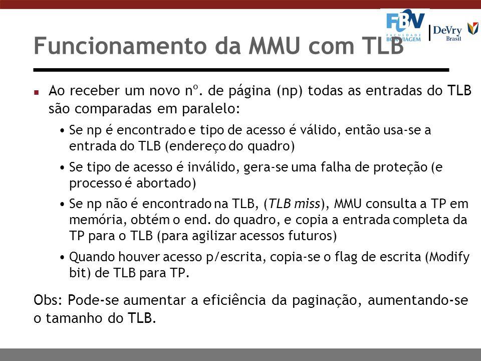 Funcionamento da MMU com TLB n Ao receber um novo nº.