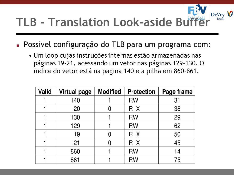TLB - Translation Look-aside Buffer n Possível configuração do TLB para um programa com: Um loop cujas instruções internas estão armazenadas nas páginas 19-21, acessando um vetor nas páginas 129-130.