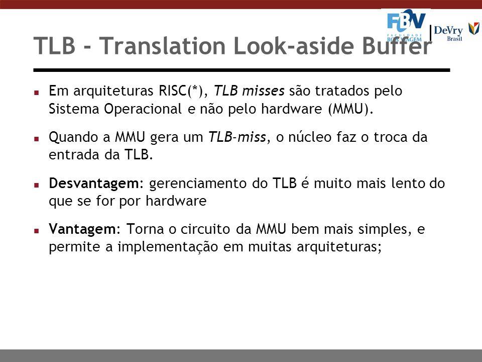 TLB - Translation Look-aside Buffer n Em arquiteturas RISC(*), TLB misses são tratados pelo Sistema Operacional e não pelo hardware (MMU).