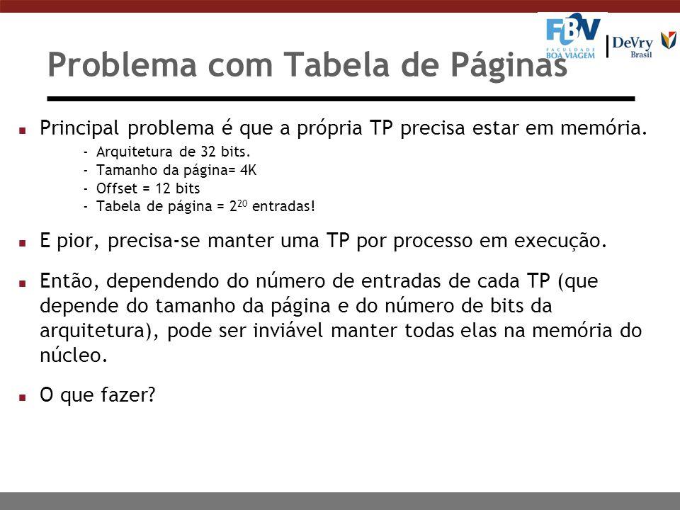 Problema com Tabela de Páginas n Principal problema é que a própria TP precisa estar em memória.