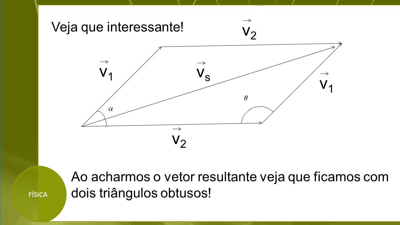 FÍSICA Veja que interessante! v2v2 v1v1 vsvs   v1v1 v2v2 Ao acharmos o vetor resultante veja que ficamos com dois triângulos obtusos!