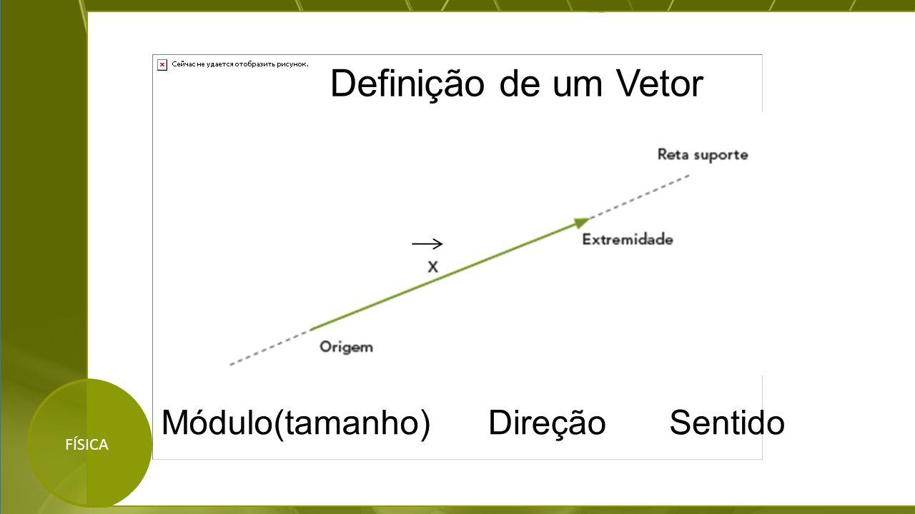 FÍSICA Módulo(tamanho)DireçãoSentido Definição de um Vetor