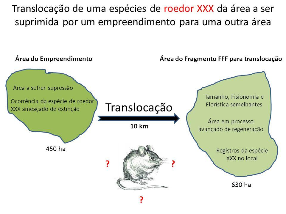 Translocação de uma espécies de roedor XXX da área a ser suprimida por um empreendimento para uma outra área Translocação ?? ? 450 ha 630 ha 10 km Áre