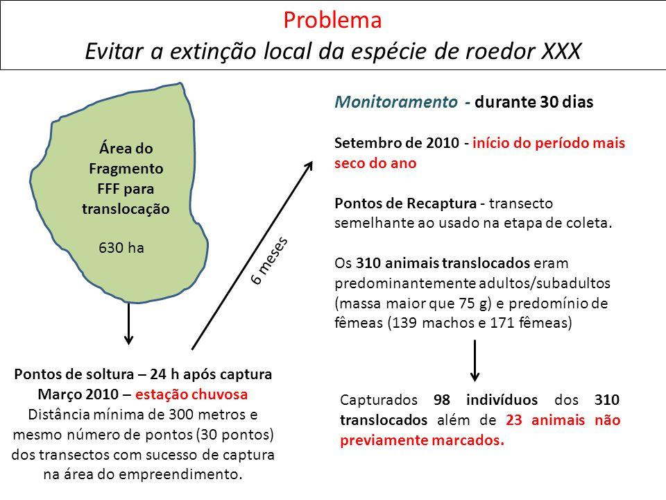 Problema Evitar a extinção local da espécie de roedor XXX Pontos de soltura – 24 h após captura Março 2010 – estação chuvosa Distância mínima de 300 m